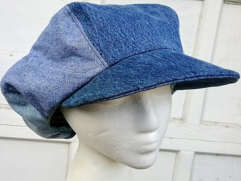 Denim Newsboy Hat Fashion Mens Six Panel Applejack Gatsby Cap  1d0bb4e0ae56