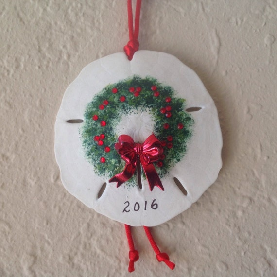 Christmas Wreath Sand Dollar Ornament Christmas Ornament Beach Christmas Wreath Decor Gift Exchange Personalize Name Drop Ornament