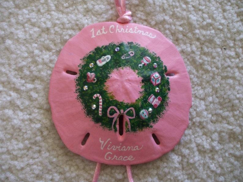 Baby Girl Baby/'s First Christmas Beach Baby Christmas Ornament. Wreath Ornament Hand Painted Sand Dollar Christmas Ornament