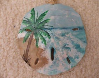Beach Sand Dollar Ornament, Palm Tree Ornament, Beach Ornament, Seaside Ornament, Paradise, Seashells,