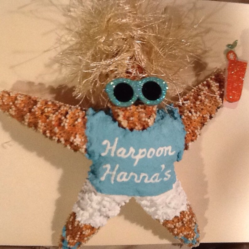 Christmas Ornament Harpoon Hanna Hand Painted Starfish Custom Order