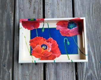 POPPIES - hand painted tray