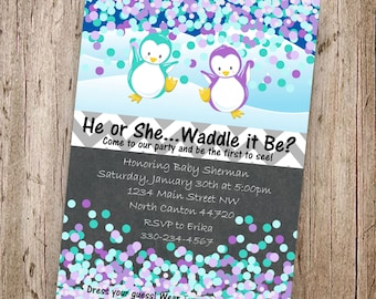 He or She Waddle it Be? Penguin Gender Reveal Invitation - Purple & Turquoise