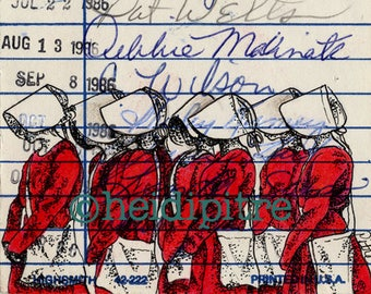 The Handmaid's Tale Upcycled Library Card Print