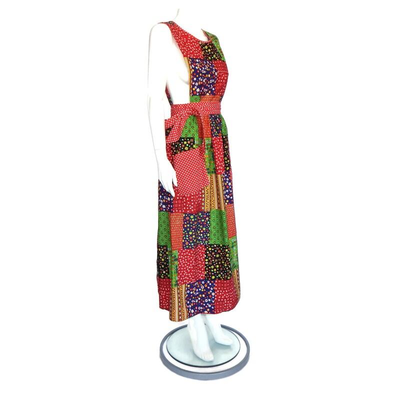 KENTON Vintage Japan 1970s Patchwork Prairie Wrap Open Sides Maxi Dress sz S