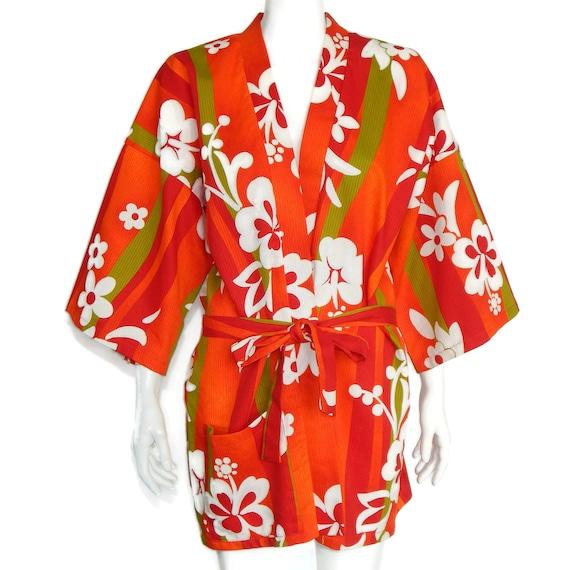 Vintage Hawaiian Cover Up Kimono Sleeve Aloha Flor