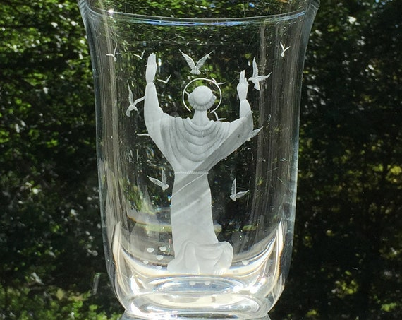 Orrefors 1939 Lead Crystal Vase Engraved Saint Francis of Assisi, Designed by Vicke Lindstrand