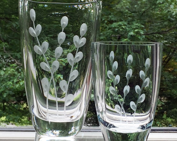 Pair of Swedish Crystal Hand Engraved Pussy Willow Vases, 1960's design by John Orwar Lake for Ekenäs