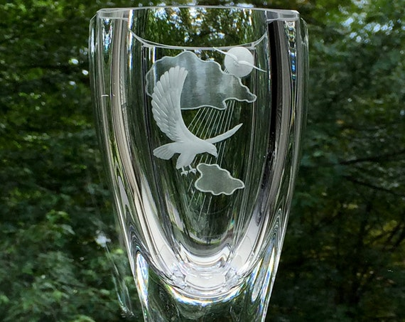 Crystal Vase with Eagle, Sun, and Clouds, Skruf Sweden, by Bengt Edenfalk, 1970's