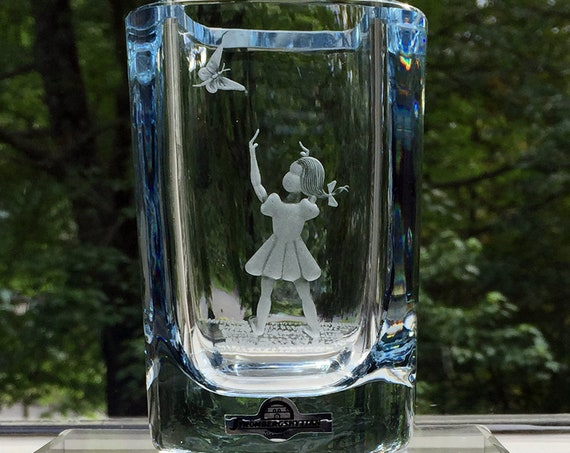 Young Girl and Butterfly Engraved Swedish Ice Blue Crystal Vase from Strömbergshyttan