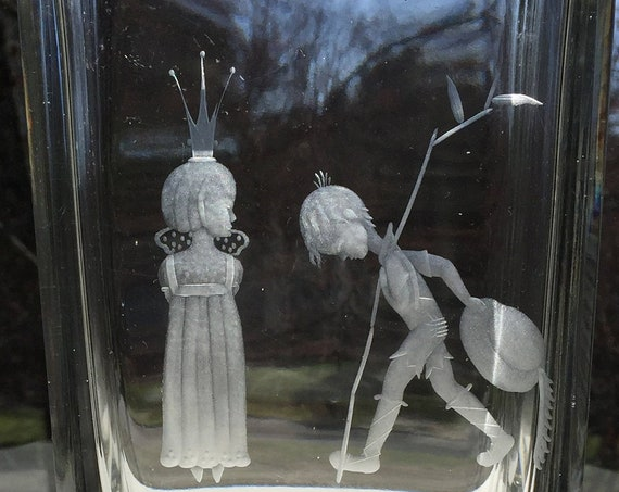 Kosta Bergh Princess and Herdsman 1930's Engraved Glass Vase