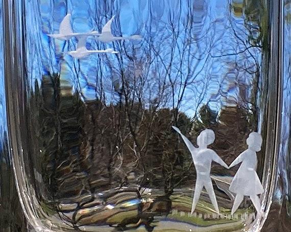 Skruf Edenfalk Engraved Swedish Crystal Vase, Pair of Kids and Pair of Geese, 1960s