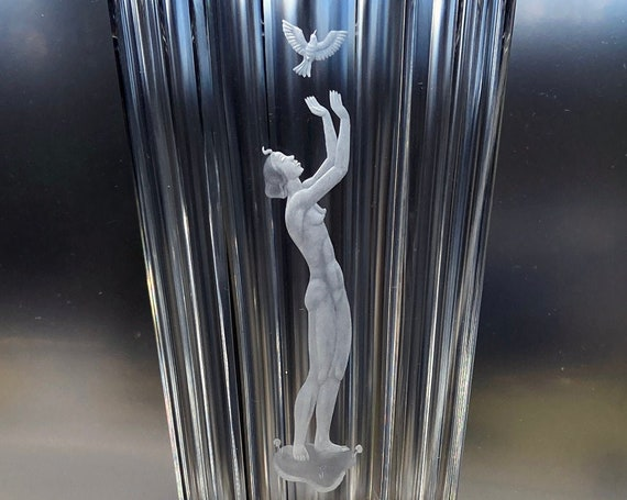 Orrefors Landberg Swedish Crystal Vase, 1954 Copper Wheel Engraved with Nude Woman and Bird