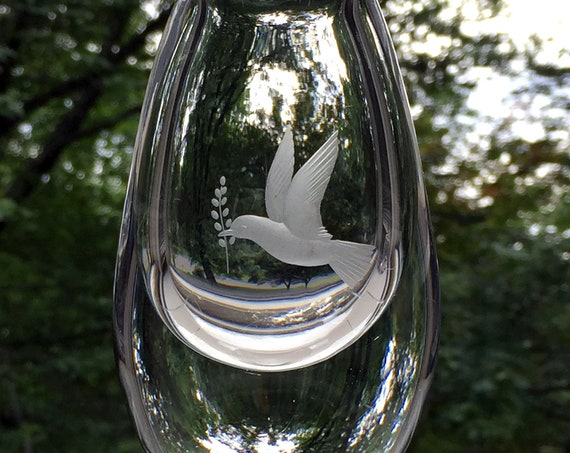 Kosta Sweden Engraved Crystal Dove Vase, Elis Bergh Design