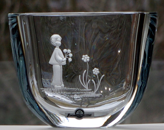 Boy with Flowers Hand-Engraved Strömbergshyttan Pale Blue Oval Swedish Crystal Vase