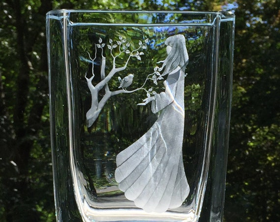 Swedish 1960's Engraved Glass Vase, Young Woman with a Bird on a Branch
