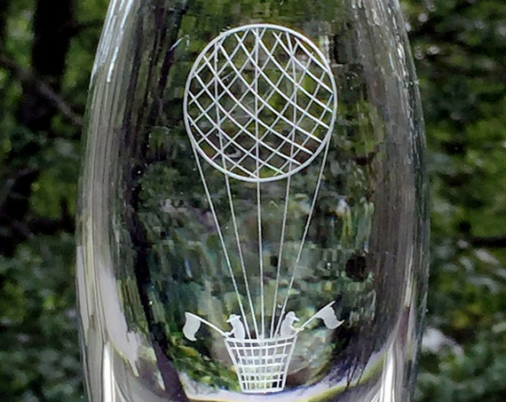 Swedish Glass Vase, Copper Wheel Engraved Hot-air Balloon, 1960's, Johansfors Glassworks