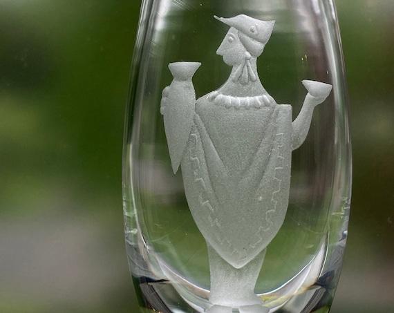 "Ekenäs John Orwar Lake Engraved Swedish  5.5"" Crystal Bud Vase, Greek God Dionysus with Amphora and Mask, 1960s"