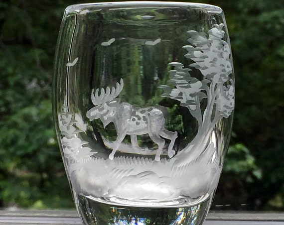 Reijmyre Swedish Engraved Lead Crystal Miniature Vase with a Moose in the Woods, 1950's