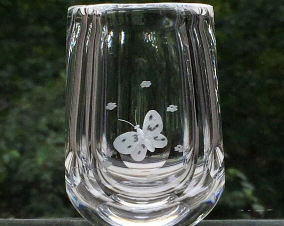 Orrefors Palmqvist 1944 Engraved Butterfly Miniature Vase
