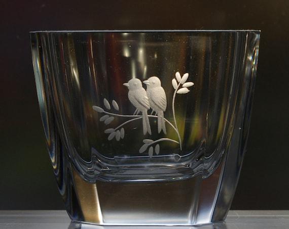 Orrefors Landberg Small Octagonal Engraved Crystal Vase with Two Birds or Lovebirds