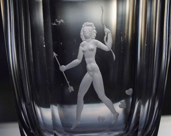 Orrefors Palmqvist Nude Woman Archer, Swedish Lead Crystal Vase, 1945 Design, Copper-Wheel Engraved