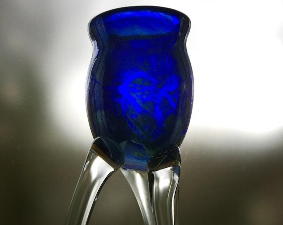 Stephen Fellerman 1994 Tall 3-Legged Art Glass Candle Holder
