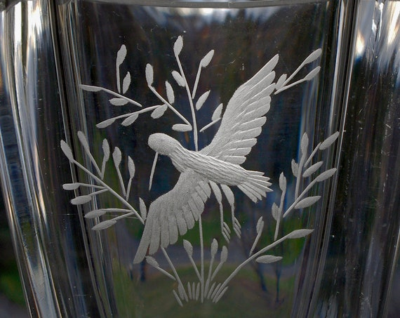 Skruf Engraved Swedish Vase, Bird in a Bush, Edenfalk 1970s Design