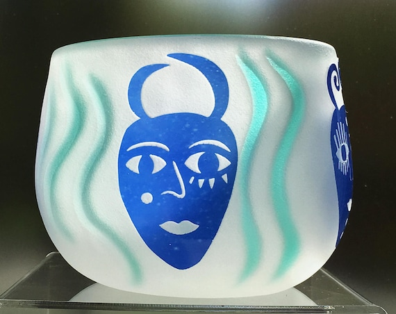 Fellerman Raabe Rare 1990's White Cameo Glass Bowl with Blue Carved Faces