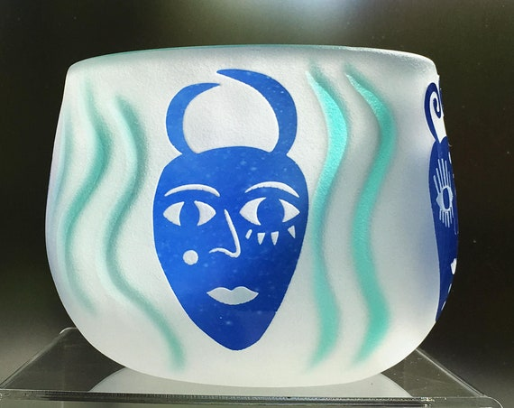 Fellerman Raabe Rare 1990's White Cameo Glass Bowl with Blue Masks