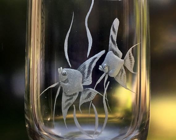 Delicate Pair of Angel Fish on Kronobergs Crystal Vase, Sweden, c. 1980