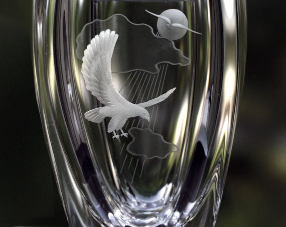 Skruf Swedish Crystal Vase with Soaring Birds, Sunrays, and Clouds, Bengt Edenfalk, 1970's