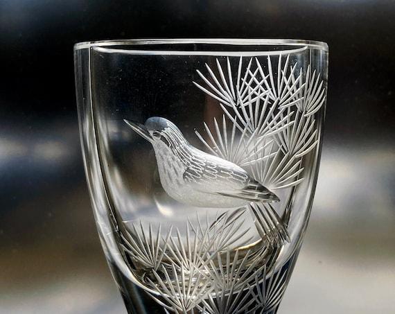 "Kjellander Tiny Fancy Bird Engraved Vase, Swedish Art Glass 2.5"" Vase, Big Sparkle"