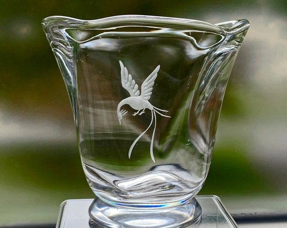 Orrefors 1941 Edward Hald Design, Engraved Bird of Paradise, Hand Blown Crystal