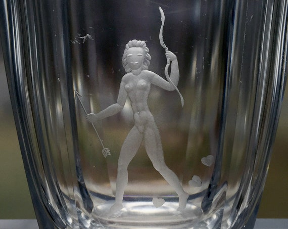 Orrefors Nude Woman Archer, Swedish Lead Crystal Vase, Palmqvist 1945 Design, Copper-Wheel Engraved