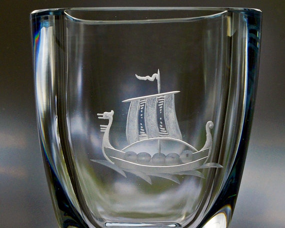 Strömbergshyttan Ice Blue Engraved Glass Vase, Viking Longship, Great Traditional Swedish Gift!