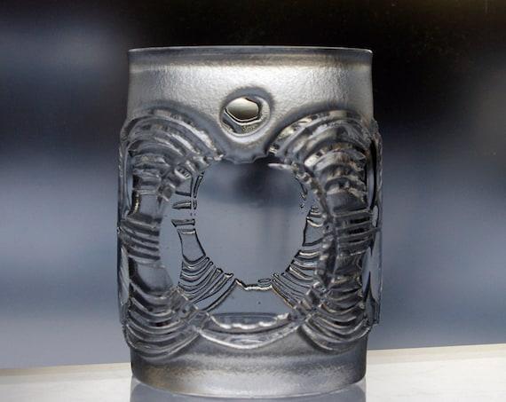 Boda Åfors 1964 Sandblasted Art Glass Vase or Votive Holder, Signed by the Artist, Bertil Vallien, Unique Swedish Crystal