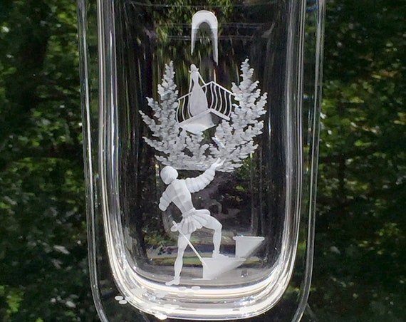 Orrefors Sweden Engraved Crystal Vase, Romeo and Juliet, Landberg 1940's Designed