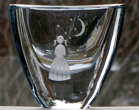 Girl with Moon and Stars Hand-Engraved Strömbergshyttan Pale Blue Round Swedish Crystal Vase