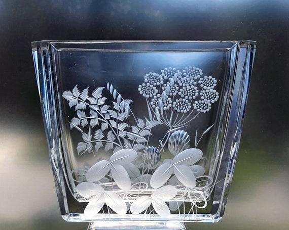 Kjellander Lead Crystal Vase with Swedish Wildflowers, 1950s Copper-Wheel Engraved, Rectangular Glass Vase, Like New