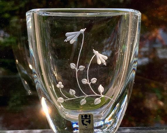 Strömbergshyttan Linnea Flower, Ice Blue Mini Vase, Engraved Swedish Glass 1960s