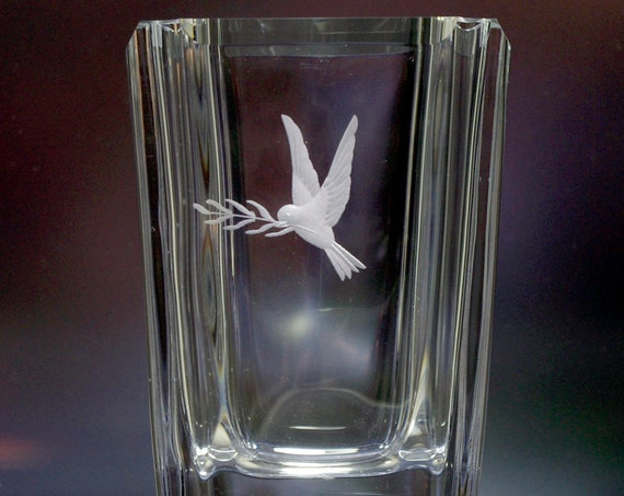Skruf Engraved Swedish Crystal Vase, Peace Dove with Laurel, 1950's Design
