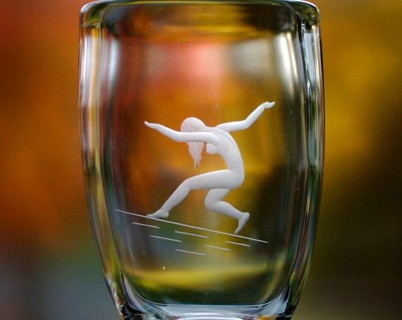 Johansfors 1940s Swedish Glass Vase, Nude Woman Dancing on Moonbeams,  Copper Wheel Engraved