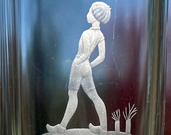 Orrefors Palmqvist 1958 Nils Holgersson, Boy Watching Flying Geese, Copper-Wheel Engraved Lead Crystal Vase
