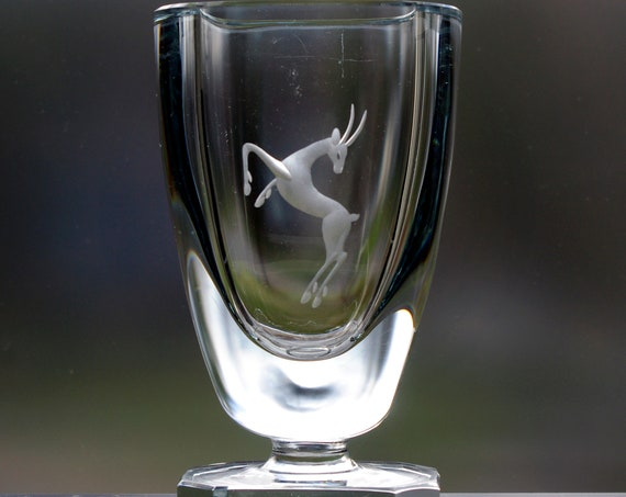 Strömbergshyttan Blue Glass Pedestal Vase, Engraved Reindeer Leaps, or Deer, Gazelle, Impala, Springbok, Antelope