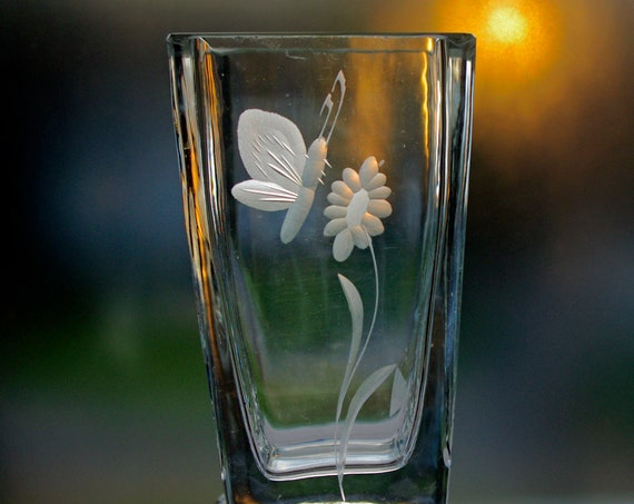 Johansfors 1950s Swedish Small Square Glass Vase, Butterfly on a Bloom, Copper Wheel Engraved