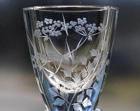 "Kjellander Swedish Wildflowers Tiny Fancy Engraved Vase, Vintage Art Glass 2.5"" Vase, Perfect Gift"
