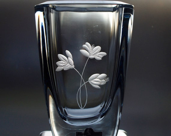"Strömbergshyttan 6.5"" Blue Engraved Glass Vase, Swedish Wildflowers"