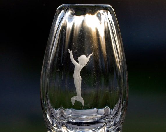 Kosta Bergh - Widholm 1930s Engraved Lead Crystal Vase with Naked Sprite, Elf, Fairy, or Nymph on a Leaf
