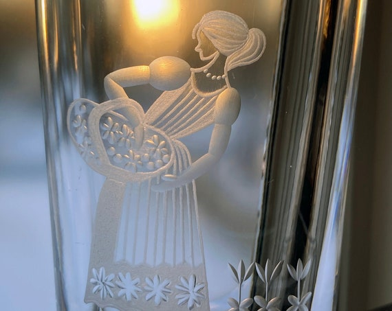 Hadeland Norway, 1960s Sandblasted Design, Woman with Basket of Flowers on a Tall Glass Vase